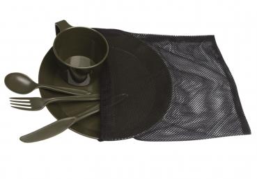camping set teller tasse besteck kunststoff oliv konkurse zerbst. Black Bedroom Furniture Sets. Home Design Ideas