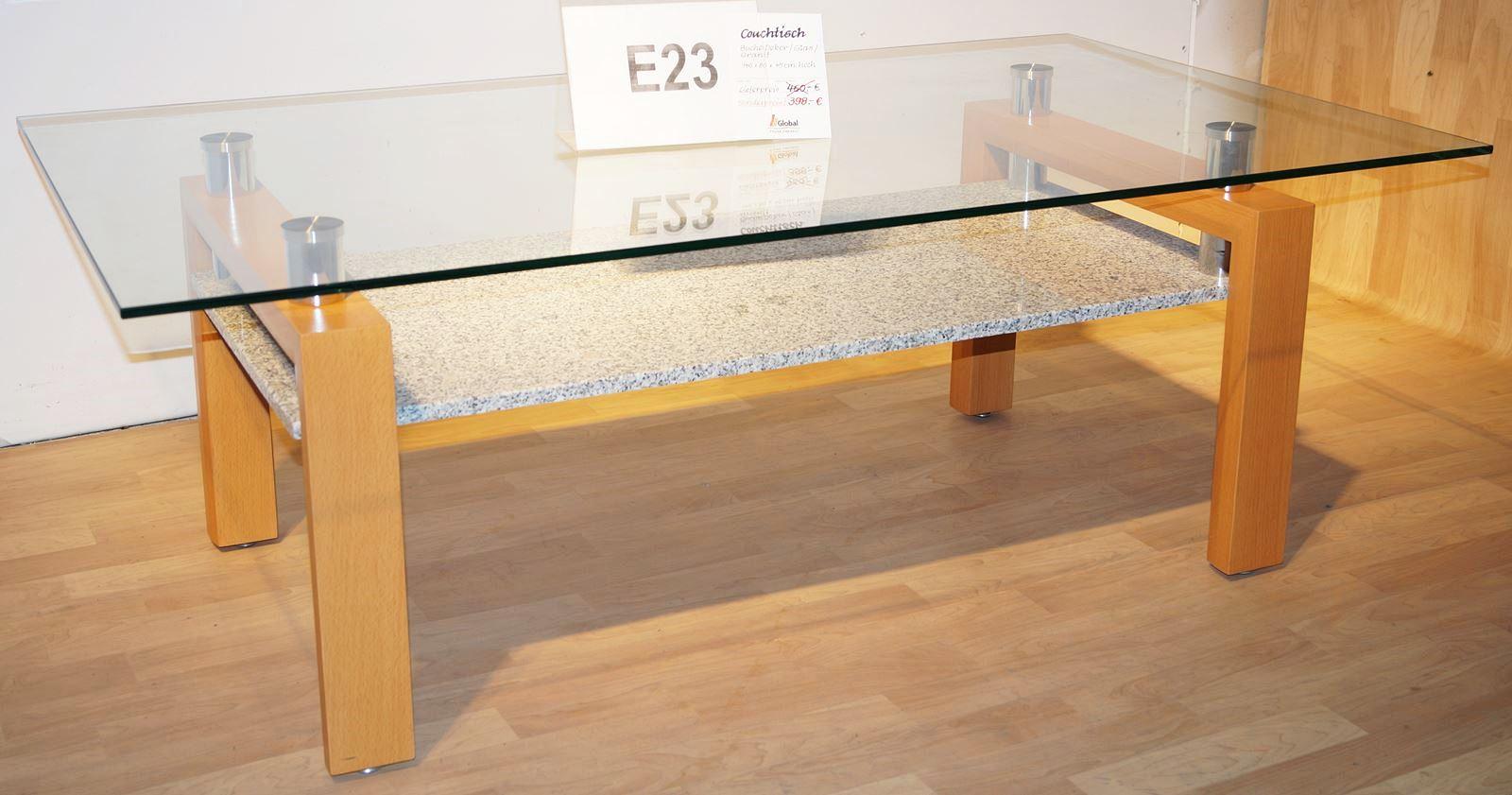 Couchtisch Wohnzimmer Tisch Glastisch Beistelltisch Buche Dekor Glas Granit  NEU E23